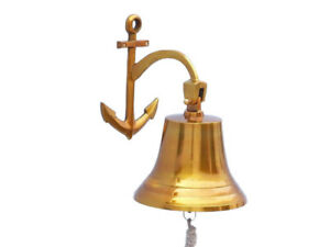 Brass Plated Solid Aluminum Ship S Bell 9 W Anchor Bracket Hanging Wall Decor