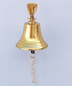 Brass Plated Solid Aluminum Ship S Bell 4 Nautical Hanging Wall Decor New