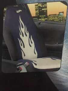 New 2 Piece Set Hot Wheels Blue Black With Silver Flames Bucket Seat Covers