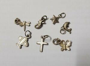 Vintage Beautiful Job Lot Of 7 Rare Sterling Silver Charm Pendant Mixed Inc