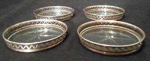 Vintage Sterling Marked Silver Star Cut Glass Coasters Set Of 4 Art Deco
