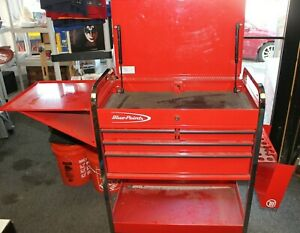 Snap on Blue Point 4 Drawer Rolling Tool Cart With Locking Side Compartment