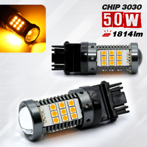 3157 Error Free Canbus Led Amber Rear Turn Signal Light Bulbs 2 Bulbs