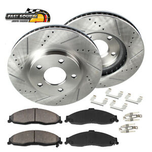 Front Drill Slot Brake Rotors Ceramic Pads For Jeep Cherokee Xj Wrangler Tj