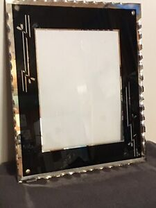 Antique Reverse Painted Art Deco Picture Frame Scalloped Edges Heavy Glass 8x10