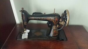 1924 Singer Sewing Treadle Sewing Machine In Tiger Oak Cabinet 7 Drawers