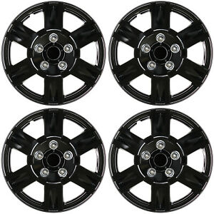 4 Pc Set Hub Caps Ice Black 16 Inch For Oem Steel Wheel Cover Cap Covers