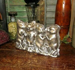 Prim Antique Vtg Tin Style Silver Playful Pigs Resin Faux Chocolate Candy Mold