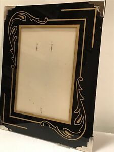 Antique Art Deco Reverse Painted Glass Picture Frame Quite Lovely