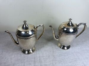 Silver Plated On Copper Teapot Coffee Serving Vtg Pitcher Decor Metal Ornate Lot