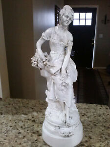 Antique French Garden Statue Women Basket Old Paint Patina Plaster 22in Tall