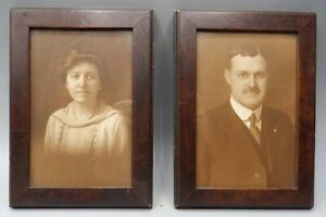 2 Nice Matching Vintage Walnut Hanging Picture Frames 5 1 4 X 7 1 4