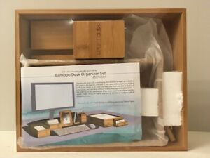 6 Piece Bamboo Desk Organizer Tray Set By Uplift