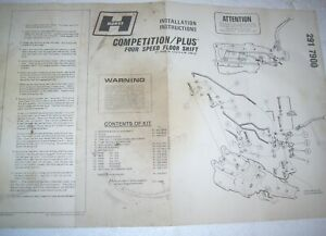 Hurst Comp 4 Speed Camaro Firebird 1970 1972 Instructions 291 7900 Muncie