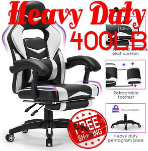 400lb Heavy Duty High Back Big And Tall Leather Reclining Gaming Chair Footrest