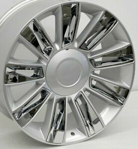 22 Silver Chrome Cadillac Escalade Platinum Replica Wheels 22x9 6x5 5 Chevy Gmc