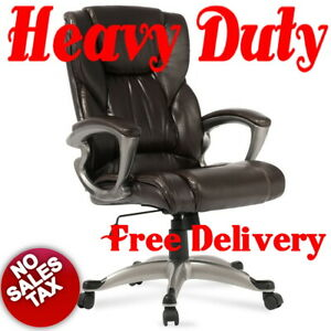 High Back Executive Brown Leather Big And Tall Heavy Duty Office Computer Chair