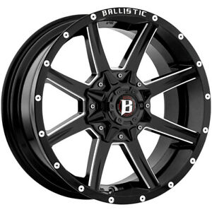 4 18 Inch Ballistic 956 Razorback 18x9 6x135 6x5 5 0mm Black Milled Wheels Rims