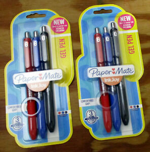 2x 3 pack Paper Mate Inkjoy Retractable Gel Pens Fine Point 0 5mm Black blue red