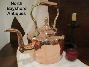 Antique 1800s English Restored Dovetailed Copper Brass Tea Kettle Acorn Finial