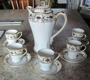 Antique Chocolate Tea Pot Set Hand Painted Nippon Japan 12 Pc Set Raised Gold
