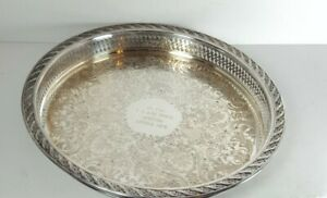 Wm Rogers And Son Spring Flower Round 12 Silver Tray Vintage Victorian Platter