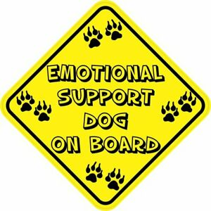 5in X 5in Emotional Support Dog On Board Sticker Car Truck Vehicle Bumper Decal