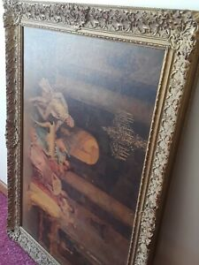 Vintage Wood Carved Painted Frame Ornate Intricate Frame 41 X 30