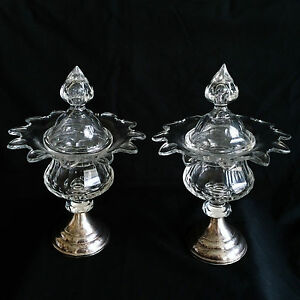 Pair Cut Crystal Silver Candy Jar Bon Bon Sweet Meat Dishes Compotes W Lids