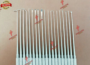 Set Of 19 Expanded Rhoton Micro Dissector Neurosurgical Surgical Instruments