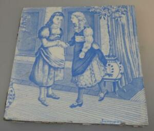 Wedgwood January Month Tile Transfer Printed C1880 Light B W Old English Series