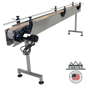 Fortex Stainless Steel 8 X 4 5 Inline Packaging Conveyor With Table Top Belt
