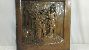 Hand Carved Wood Art Barefoot Farmer Spanish Soldier Dated 1931 By W Schoene