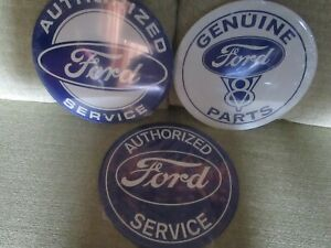 Tin Metal Gasoline Service Station Man Cave Advertising Decor Gas Oil Ford 3pc