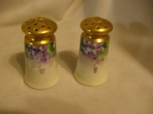 Vintage Porcelain China Salt And Pepper Shakers Purple Violets With Gold Tone Ri