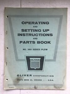 Vintage Oliver Tractor Corp 360 Series Plow Set Up Parts Book Owners Manual