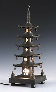 Japanese Old Vintage Wooden Figure Five Story Pagoda Lamp