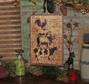 Primitive Country Antique Vtg Style Wood Dairy Farm Cow Sheep Rooster Pig Sign