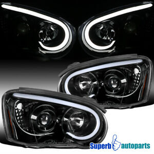 For 2004 2005 Subaru Impreza Wrx Polished Black Led Drl Projector Headlights