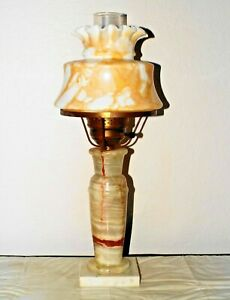Gone With The Wind Vintage Heavy Italian Marble Milk Glass Shade Hurricane Lamp