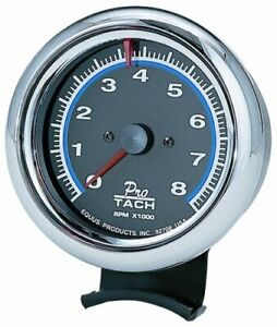 Equus 3 3 8 Inch Racing Tachometer Black Faced Chrome Bezel 0 8000 Rpm 6078
