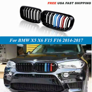 M Color Front Bumper Grill Grille Gloss Black For Bmw X5 X6 F15 F16 2014 2018