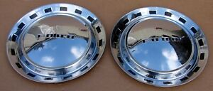 Two 1952 Ford Crestline Victoria Custom Line Sunliner 15 Hubcaps Wheel Covers