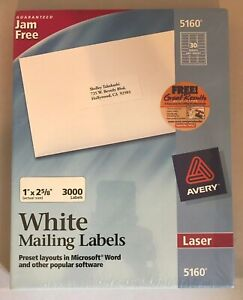 Avery 5160 Easy Peel Mailing Address Labels Laser 1 X 2 5 8 White 3000 box