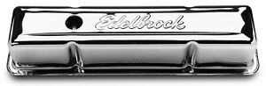Edelbrock Valve Cover Set 4649 Signature Series Chrome Steel For Chevy Sbc