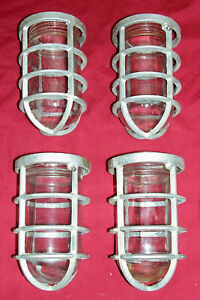 4 Old Industrial Cage Lights Lighting Light Explosion Proof Vapor Loft Caged Sub