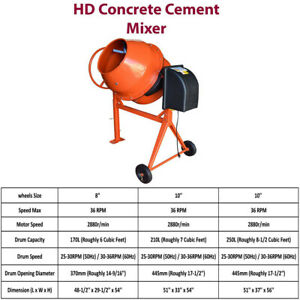 Hd Portable Electric Steel Stucco Concrete Cement Mixer 170l 210l 250l Drum Cap