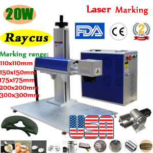 Us 20w Raycus Fiber Laser Marking Machine Engraving With Rotation Axis Fda