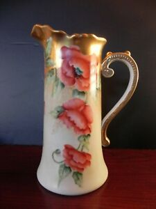 Vintage Porcelain Tankard Pitcher 12 X 9 Hand Painted Austria Lots Of Gold
