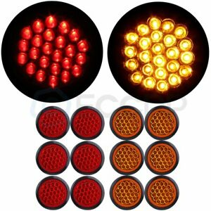 12x Red Amber 4 Inch Round 24led Trailer Truck Side Marker Clearance Tail Light